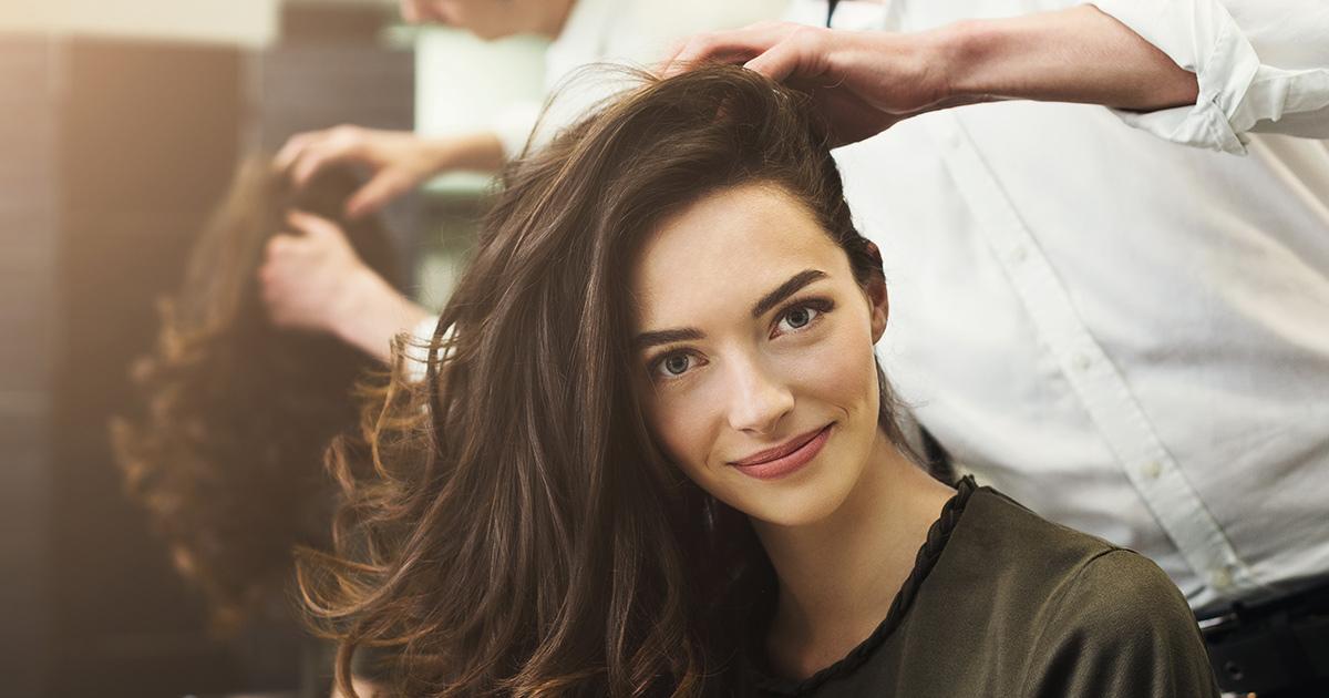 brunette woman at a hair salon
