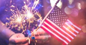 small american flag and sparklers