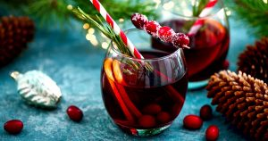 glass of mulled wine on festive table